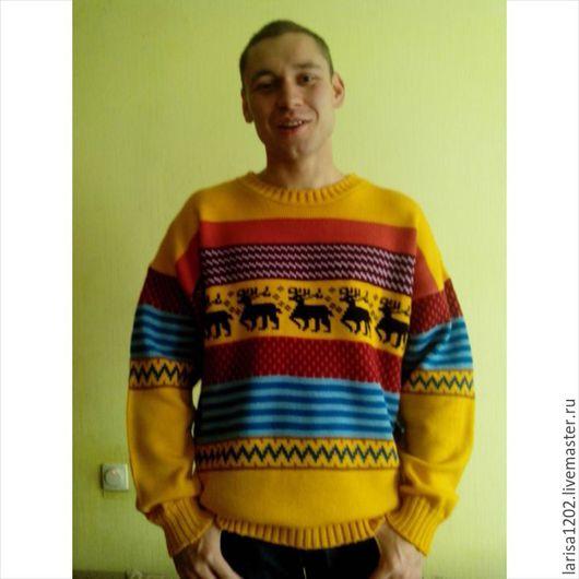 """Для мужчин, ручной работы. Ярмарка Мастеров - ручная работа. Купить Пуловер унисекс """"Перуанские мотивы"""". Handmade. Разноцветный, джемпер"""