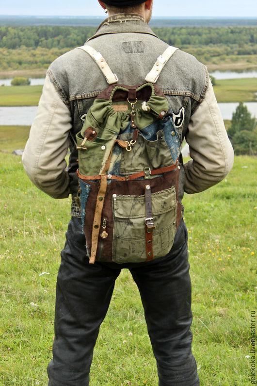 Рюкзаки ручной работы. Ярмарка Мастеров - ручная работа. Купить Мужской рюкзак из натуральной кожи и джинса. Handmade. Рюкзак