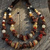 handmade. Livemaster - original item Double row necklace with coral and birds. Handmade.