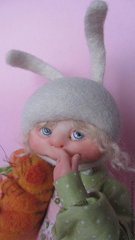 """Коллекционные куклы ручной работы. Ярмарка Мастеров - ручная работа. Купить зайка-малышка""""Козявочка"""" и кот Кшиш. Handmade. Бледно-розовый"""