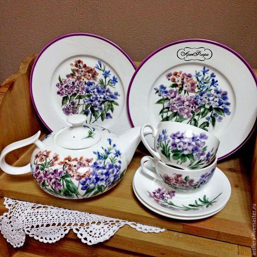 Сервизы, чайные пары ручной работы. Ярмарка Мастеров - ручная работа. Купить Роспись фарфора Чайный сервиз Ситец. Handmade.