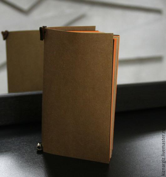 """Блокноты ручной работы. Ярмарка Мастеров - ручная работа. Купить Блокнот  10/17 """" Orange"""". Handmade. Рыжий, резинка шляпная"""