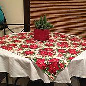 """Скатерти ручной работы. Ярмарка Мастеров - ручная работа Скатерть """" Рождественские пуансеттии"""". Handmade."""