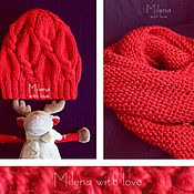 Аксессуары handmade. Livemaster - original item Set Knitted Red Calla, knitted hat, knitted scarf.. Handmade.