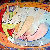 """Открытки ручной работы. Ярмарка Мастеров - ручная работа открытка """"кот на ковре"""". Handmade."""