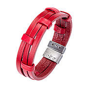 Украшения handmade. Livemaster - original item Bracelet red leather three. Handmade.