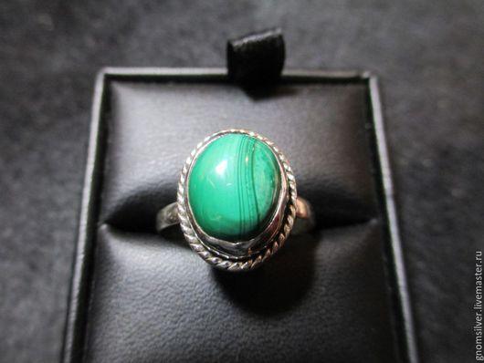 Кольца ручной работы. Ярмарка Мастеров - ручная работа. Купить Авторское кольцо с малахитом из Конго. Handmade. Тёмно-зелёный