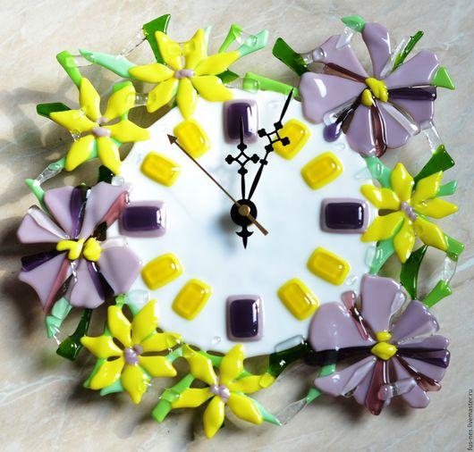"""Часы для дома ручной работы. Ярмарка Мастеров - ручная работа. Купить Часы настенные """"Цветочная поляна -2"""". Фьюзинг.. Handmade."""