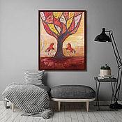 Картины и панно handmade. Livemaster - original item Painting in Russian style. Tree .100h80.. Handmade.