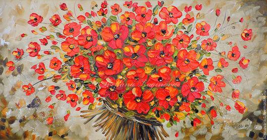 Картины цветов ручной работы. Ярмарка Мастеров - ручная работа. Купить Букет красных цветов-картина маслом. Handmade.