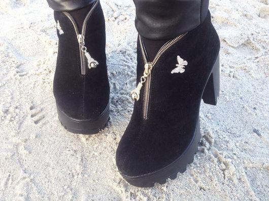 Обувь ручной работы. Ярмарка Мастеров - ручная работа. Купить женские ботильоны. Handmade. Комбинированный, ботильоны зимние, осенние ботинки