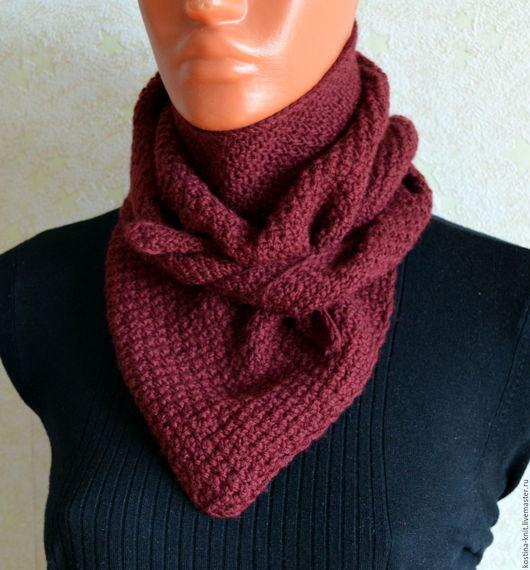 Шарфы и шарфики ручной работы. Ярмарка Мастеров - ручная работа. Купить Вязанный шейный платок, шарф, бордовый. Handmade.