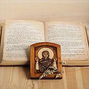 Картины и панно ручной работы. Ярмарка Мастеров - ручная работа «Матерь Божия «Нерушимая стена» миниатюрная резная икона. Handmade.