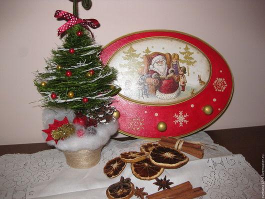 """Кухня ручной работы. Ярмарка Мастеров - ручная работа. Купить Вешалка  """" Дед Мороз и дети"""". Handmade. Разноцветный, Снег"""