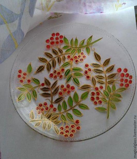 """Тарелки ручной работы. Ярмарка Мастеров - ручная работа. Купить Тарелка """"Рябинка"""". Handmade. Ярко-красный, тарелка в подарок"""