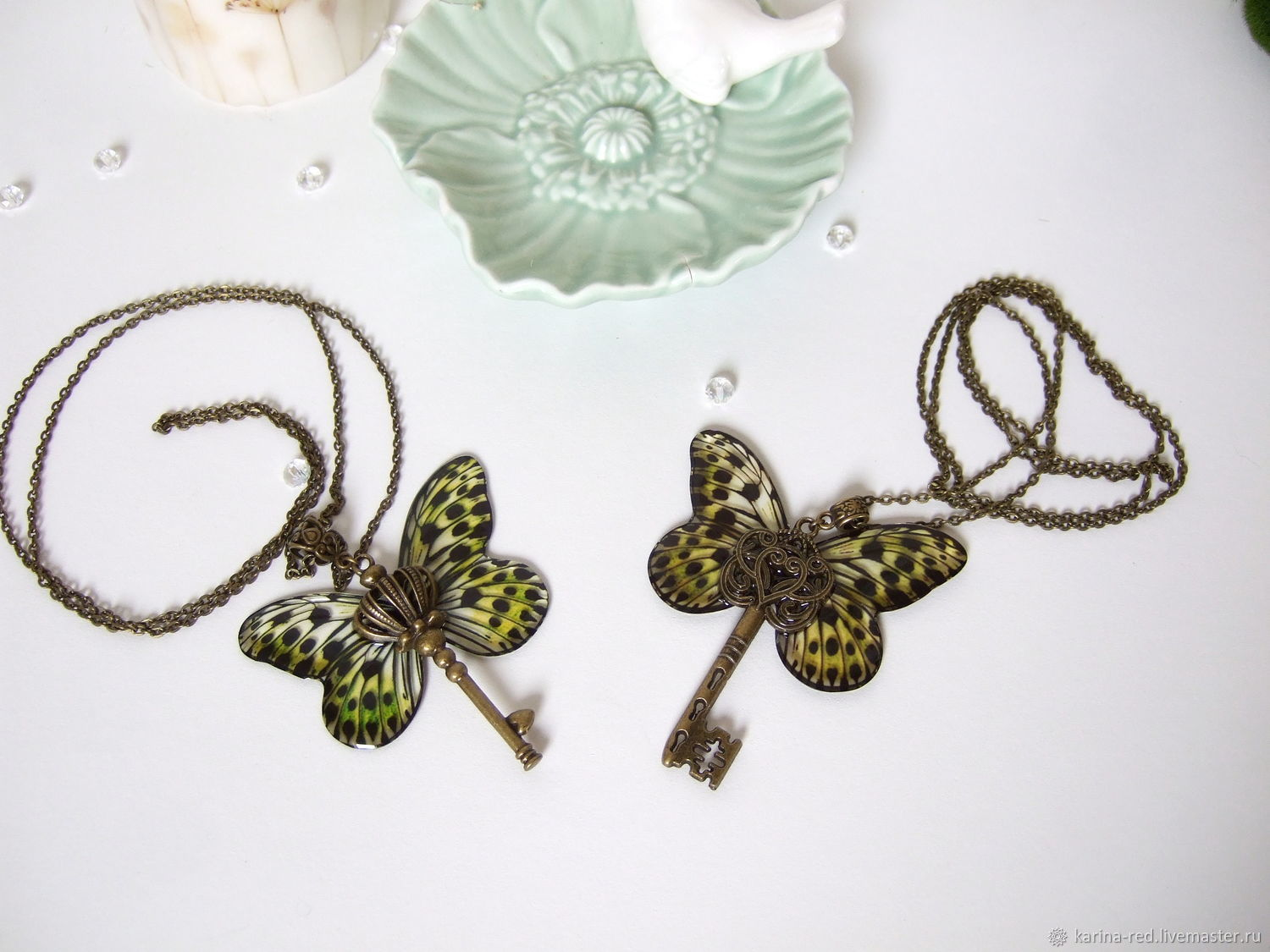 buy transparent butterfly pendant vintage jewelry exclusive jewelry handmade jewelry epoxy twin reflection of two moths