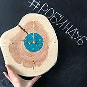 Часы классические ручной работы. Ярмарка Мастеров - ручная работа Часы из спила. Handmade.