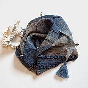 """Аксессуары ручной работы. Ярмарка Мастеров - ручная работа Бактус """"У самого синего моря"""" - шейный платок вязаный крючком.. Handmade."""