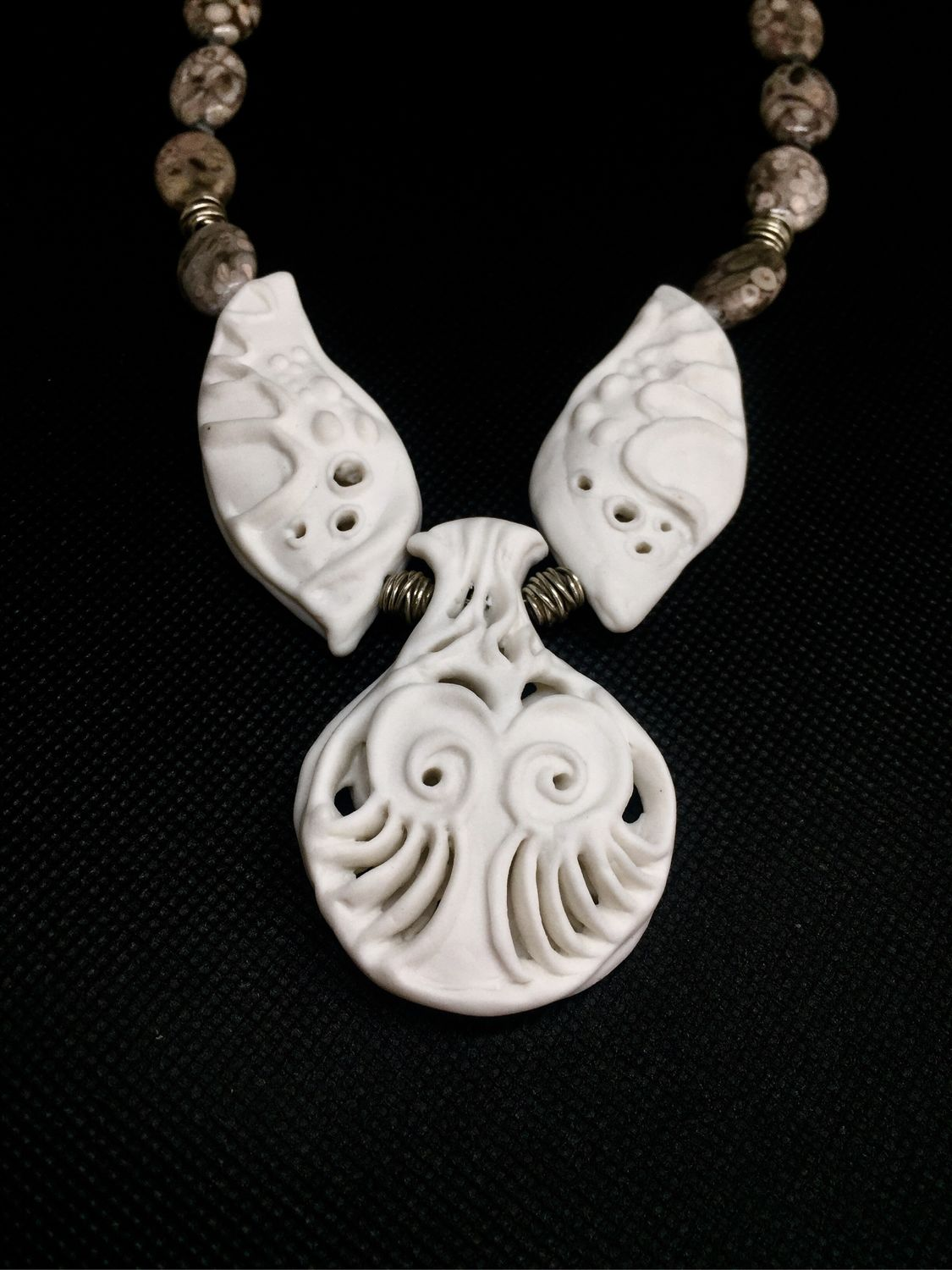 Sea angel necklace. Handmade porcelain, shell, 925 sterling silver, Necklace, Moscow,  Фото №1