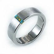 Украшения handmade. Livemaster - original item Titanium ring with chrysocolla and gold veins. Handmade.