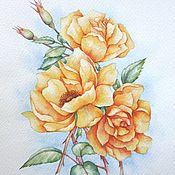 """Картины и панно ручной работы. Ярмарка Мастеров - ручная работа Рисунок """"Розы"""" акварель. Handmade."""