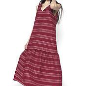 Одежда handmade. Livemaster - original item Dress sundress striped Bordeaux with pockets (art. 2501). Handmade.