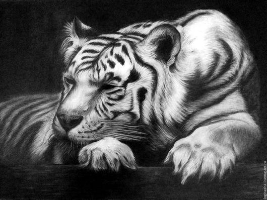 Животные ручной работы. Ярмарка Мастеров - ручная работа. Купить ТИГР. Handmade. Темно-серый, графика рисунки, тигр