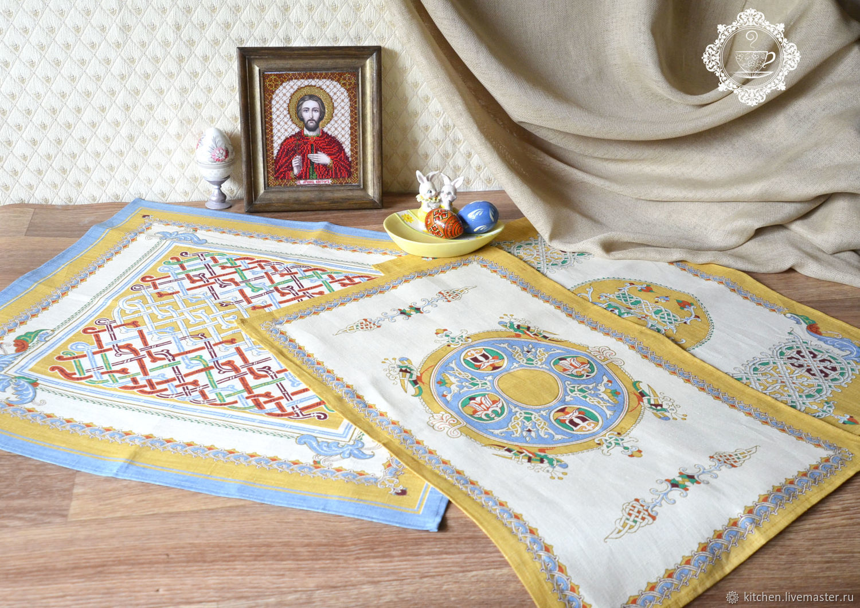 Льняные полотенца Узоры Руси, Пасхальные сувениры, Москва,  Фото №1