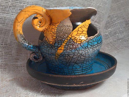 """Графины, кувшины ручной работы. Ярмарка Мастеров - ручная работа. Купить """"Попугай Ара"""", кувшинчик с блюдцем, керамика, цветные глазури.. Handmade."""