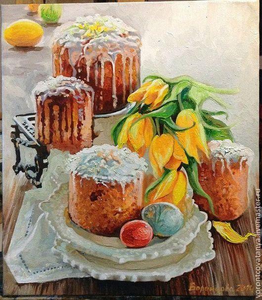 """Натюрморт ручной работы. Ярмарка Мастеров - ручная работа. Купить """"Светлый день"""". Handmade. Оранжевый, пасхальные яйца, картина маслом"""