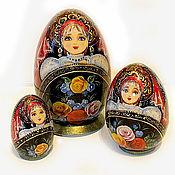 Русский стиль ручной работы. Ярмарка Мастеров - ручная работа Матрешка-яйцо 3-х местная с пейзажем. Handmade.