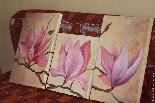 """Картины цветов ручной работы. Ярмарка Мастеров - ручная работа. Купить Модульная картина """"Цветущие магнолии"""". Handmade. Розовый"""