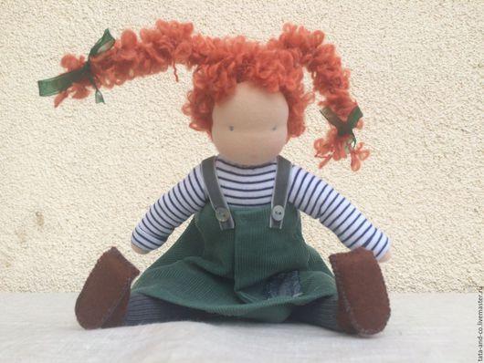 Вальдорфская игрушка ручной работы. Ярмарка Мастеров - ручная работа. Купить Пеппи для Полины, вальдорфская куколка. Handmade. Оранжевый, Пеппи