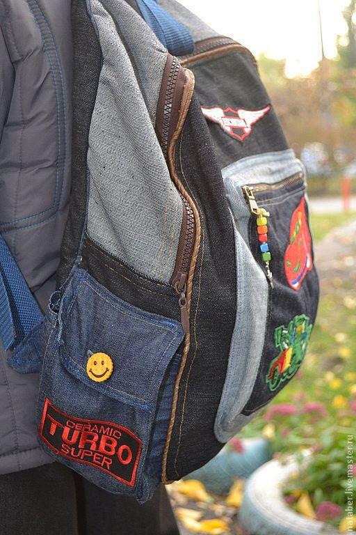 """Рюкзаки ручной работы. Ярмарка Мастеров - ручная работа. Купить Рюкзак  """"Гонки"""". Handmade. Тёмно-синий, Киев, джинсовый рюкзак"""