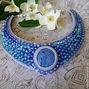 Украшения ручной работы. Ярмарка Мастеров - ручная работа Колье с голубыми цветами. Handmade.