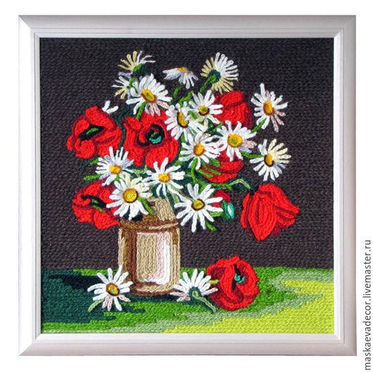 Картины цветов ручной работы. Ярмарка Мастеров - ручная работа. Купить Вязанная картина Полевые цветы, объемные ромашки 40 х 40 см. Handmade.