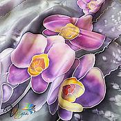 Аксессуары handmade. Livemaster - original item Handkerchief Orchids batik, silk, crepe de Chine. Handmade.