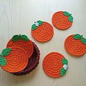 """Подставки ручной работы. Ярмарка Мастеров - ручная работа Подставки под чашки и бокалы """"Сладкий апельсин"""". Handmade."""