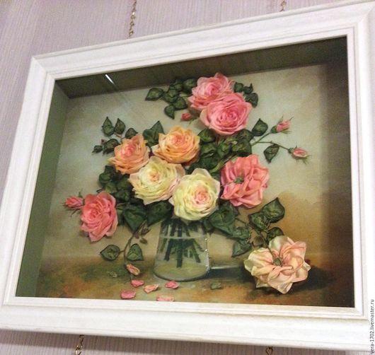 Картины цветов ручной работы. Ярмарка Мастеров - ручная работа. Купить Нежные розы №5. Handmade. Комбинированный, натуральный шелк