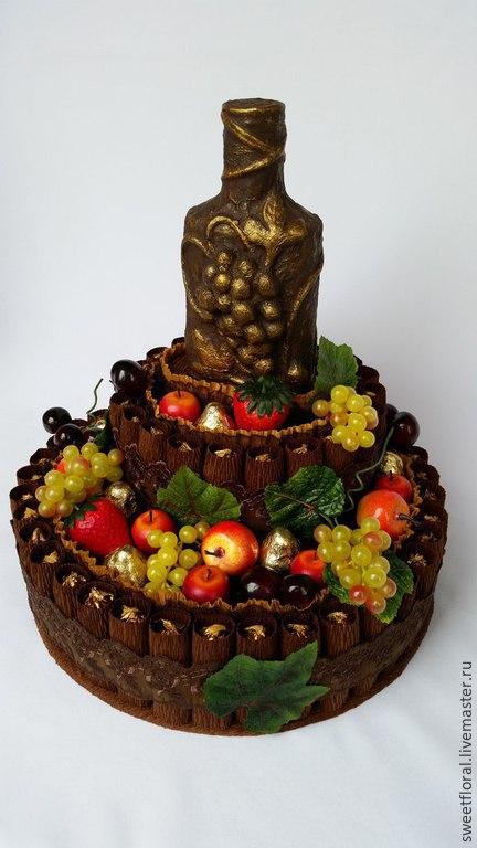 """Букеты ручной работы. Ярмарка Мастеров - ручная работа. Купить Торт из конфет для мужчин """"Шоколадный сюрприз"""". Handmade. Коричневый"""