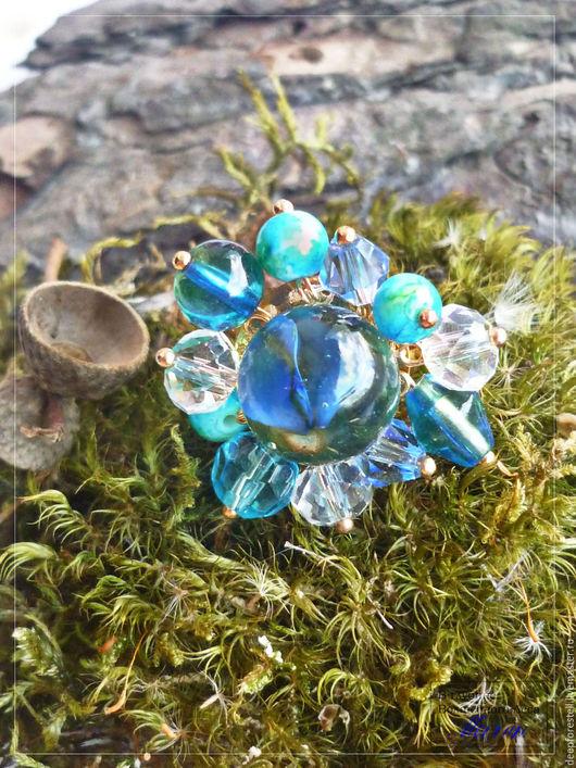 """Кольца ручной работы. Ярмарка Мастеров - ручная работа. Купить Крупное кольцо """"Голубые одуванчики"""",голубое кольцо,кольцо лэмпворк. Handmade."""