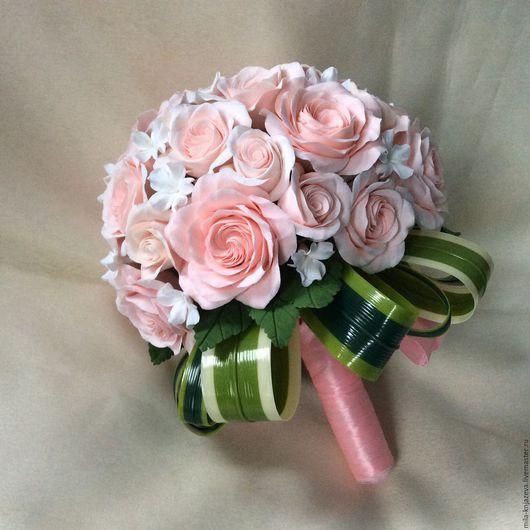 """Свадебные цветы ручной работы. Ярмарка Мастеров - ручная работа. Купить Букет невесты из полимерной глины """" Облако из роз """". Handmade."""