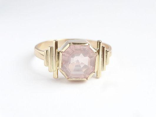 Кольца ручной работы. Ярмарка Мастеров - ручная работа. Купить Золотое кольцо с розовым кварцем. Handmade. Оригинальное кольцо