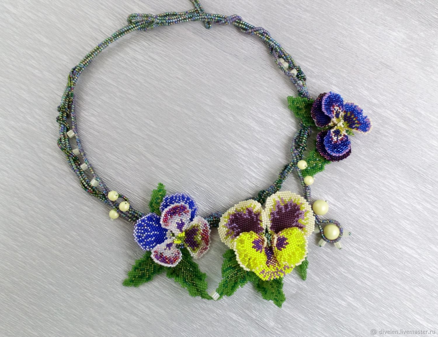 Flower necklace Yellow accent. (beaded necklace), Necklace, Divnogorsk,  Фото №1