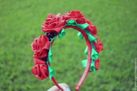 Диадемы, обручи ручной работы. Ярмарка Мастеров - ручная работа. Купить Ободок с розами. Handmade. Ярко-красный, Театральный костюм