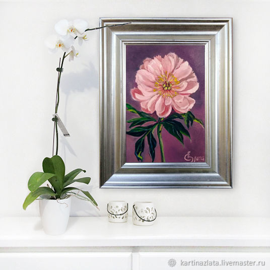 Oil painting on canvas Peony handsome for interior, Pictures, Azov,  Фото №1