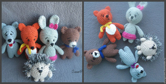 Игрушки животные, ручной работы. Ярмарка Мастеров - ручная работа. Купить Лесные малыши (амигуруми) 5 штук. Handmade. Амигуруми