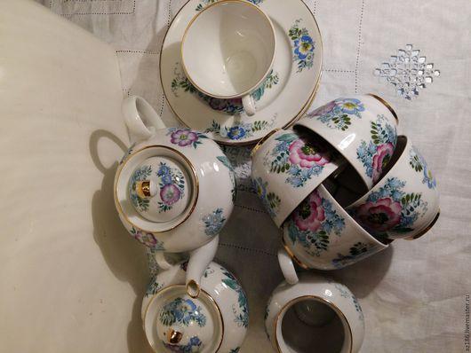 """Винтажная посуда. Ярмарка Мастеров - ручная работа. Купить ЛФЗ """"Полевые цветы"""" чайный сервиз. Handmade. Комбинированный, тонкостенный фарфор"""