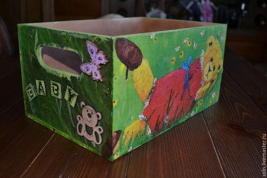 """Корзины, коробы ручной работы. Ярмарка Мастеров - ручная работа. Купить Детский короб """"Мишутки"""". Handmade. Разноцветный, мишка девочка"""