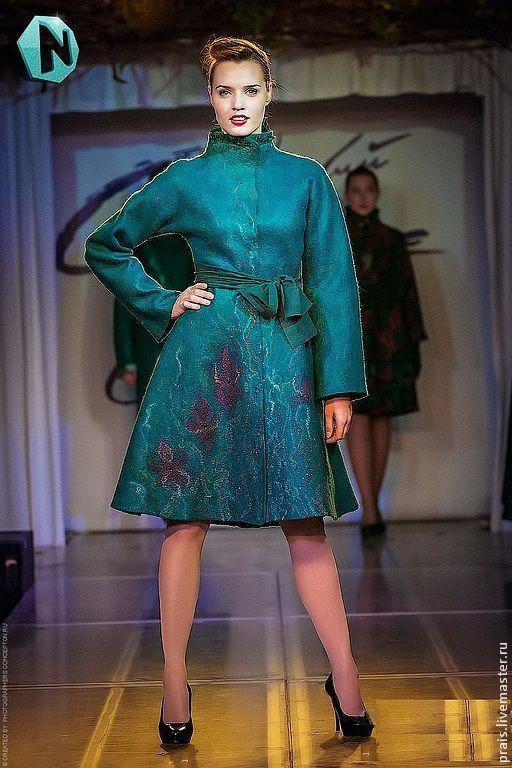 """Верхняя одежда ручной работы. Ярмарка Мастеров - ручная работа. Купить Авторское валяное пальто """"Magic emerald"""". Handmade."""